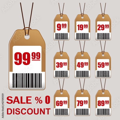 Sale, price tag icon  Vintage style sale tags design  Vector