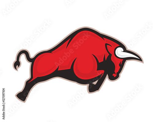Charging bull mascot Wall mural