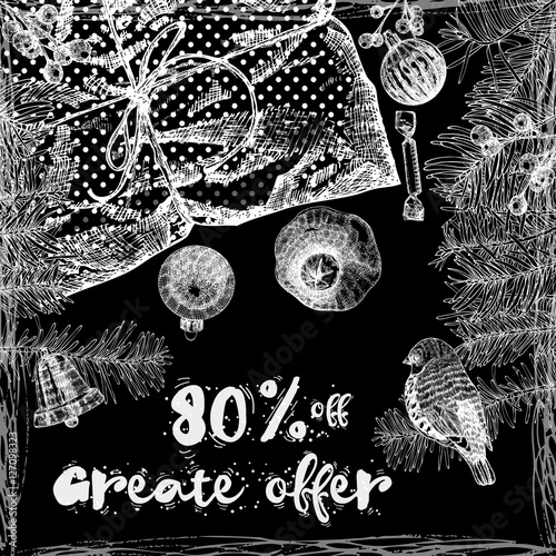 Great Offer 80 percent off, Christmas sale banner. Winter Holidays sale template banner.