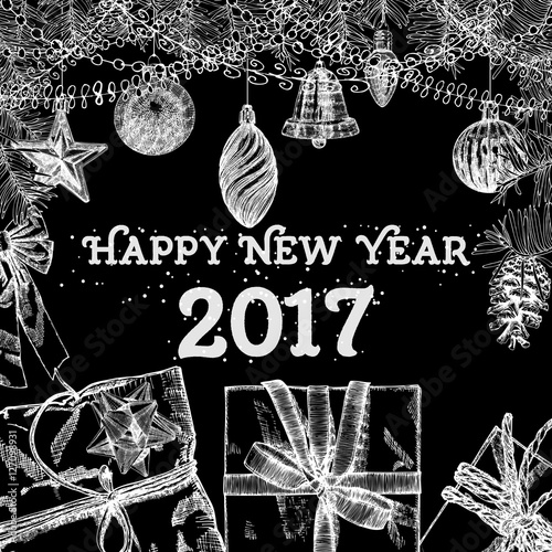 Happy New Year 2017 handmade hand drawing style greeting card. Black White.