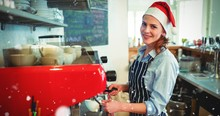 Composite Image Of Portrait Of Happy Waitress Wearing Santa Hat