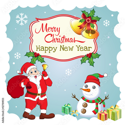 Merry christmas and happy new year greeting card funny santa merry christmas and happy new year greeting card funny santa snowman bell m4hsunfo
