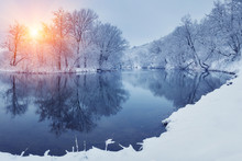 Winter Forest On The River At Sunset. Panoramic Landscape With Snowy Trees, Sun, Beautiful Frozen River With Reflection In Water. Seasonal. Winter Trees, Lake And Blue Sky. Frosty Snowy River. Weather