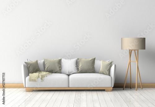 Fotografie, Obraz  Couch im Raum vor einer Wand