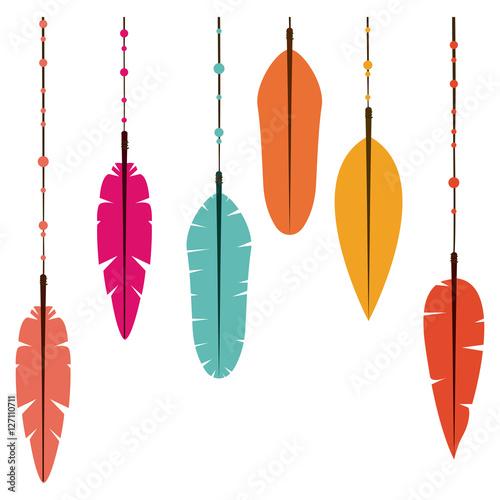 ikona-pioropusz-czeski-boho-rustykalne-dekoracje-natury-i-rocznika-tematu-izolowany-projekt-ilustracji-wektorowych