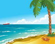 Sea beach with palm and crab. Cartoon vector illustration