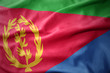 canvas print picture - waving colorful flag of eritrea.