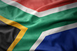 canvas print picture - waving colorful flag of south africa.
