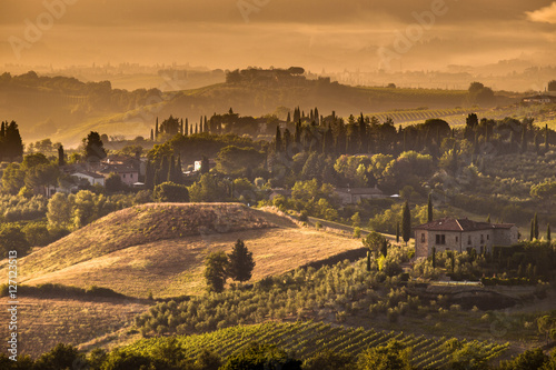 Photo  Tuscany Village morning landscape Scene near Volterra