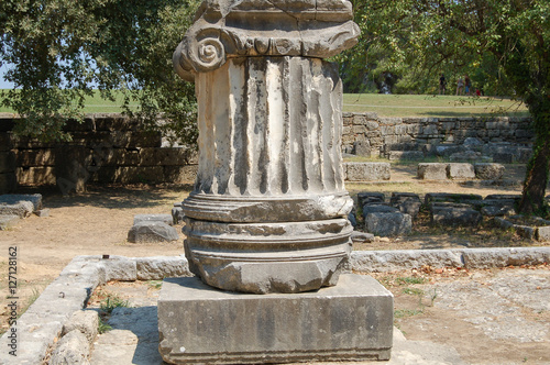 Foto op Aluminium Bedehuis Columna Jónica en las ruinas de Olimpia