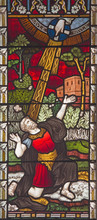 ROME, ITALY - MARCH 9. 2016: The Conversion Of St. Paul On The Stained Glass Of All Saints' Anglican Church By Workroom Clayton And Hall (19. Cent.)