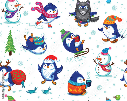 Cotton fabric Seamless pattern with funny penguins isolated on white background