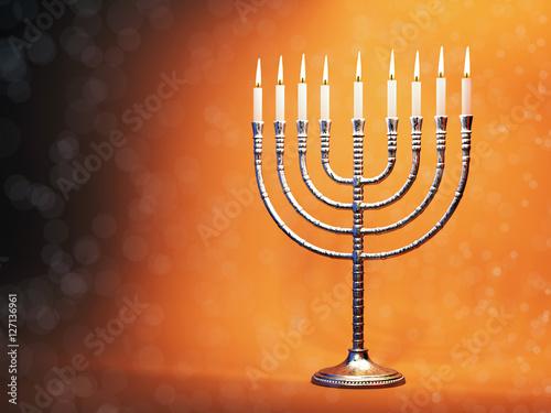 Hanukkah menorah with burning candles Wallpaper Mural