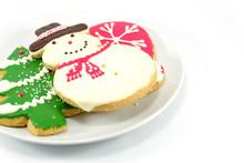 Christmas Cookies; Snow Man And Christmas Tree