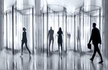 Revolving Door Glass Office  In Monochrome