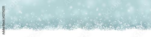 Foto op Plexiglas Lichtblauw extra breites Banner / Bordüre für Weihnachten mit Schneeflocken