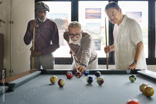 Fotografie, Tablou  Friends Playing Billiard Relaxation Happiness Concept
