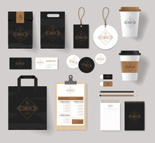 Corporate Branding Identity Mock Up Template For Coffee Shop And Restaurant. With Card, Menu, Packaging, Vector