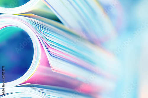 Fotografie, Obraz  Close up edge of colorful magazine stacking roll