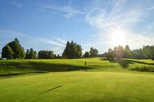 Golfplatz In Der Abendsonne