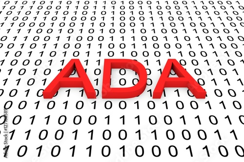 Ada In The Form Of Binary Code 3d Illustration Buy This Stock