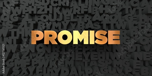 Valokuva Promise - Gold text on black background - 3D rendered royalty free stock picture