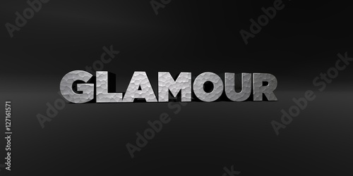 Fotografie, Obraz  GLAMOUR - hammered metal finish text on black studio - 3D rendered royalty free stock photo