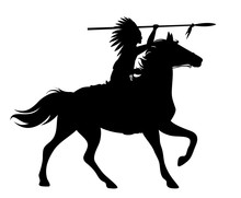 Indian Chief Riding A Horse Black Vector Silhouette