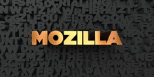 Mozilla - Gold Text On Black Background - 3D Rendered Royalty Free Stock Picture. This Image Can Be Used For An Online Website Banner Ad Or A Print Postcard.