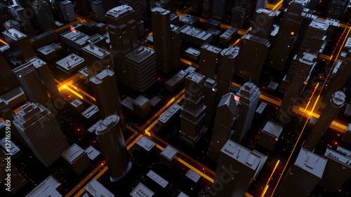 Digital 3d rendering city. Light trails symbolise data travelling in modern city. Flowing data particles and random shapes. Detailed illustration.