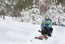 In Winter, The Snow-covered Forest Boy Sitting On A Sledge.