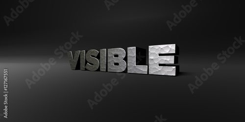 Fotografía  VISIBLE - hammered metal finish text on black studio - 3D rendered royalty free stock photo