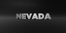 NEVADA - Hammered Metal Finish Text On Black Studio - 3D Rendered Royalty Free Stock Photo. This Image Can Be Used For An Online Website Banner Ad Or A Print Postcard.