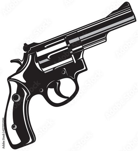 Black Revolver Gun. Canvas Print