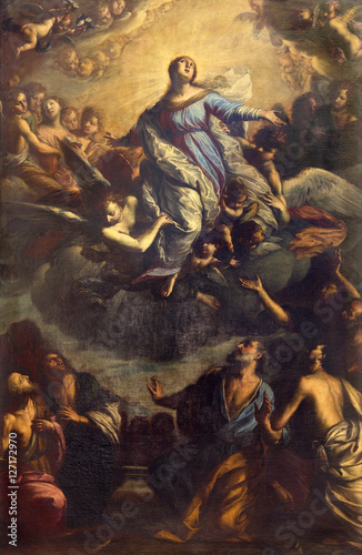 BRESCIA, ITALY - MAY 23, 2016: The painting Assumption of Vigin Mary in church Chiesa di San Giovanni Evangelista by Francesco Paglia (1636 - 1700) Wallpaper Mural