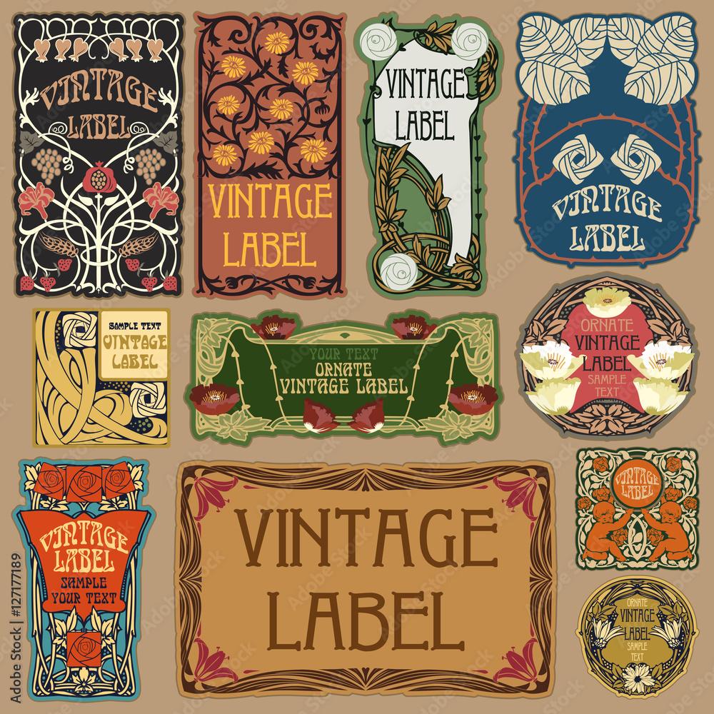 Fototapeta Vector vintage items: label art nouveau