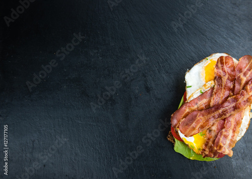 Bacon and Egg Sandwich (selective focus)