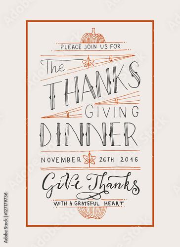 Fényképezés  Hand drawn Thanksgiving typography invitation