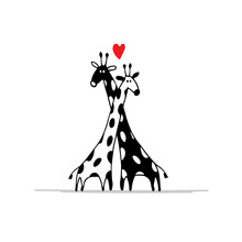 Giraffes Couple In Love, Sketch For Your Design
