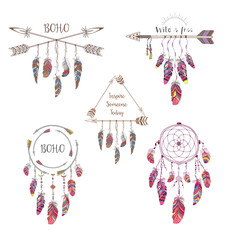 Naklejka Boho Set of Boho Style Design for T-shirt, Tattoo and Decoration.