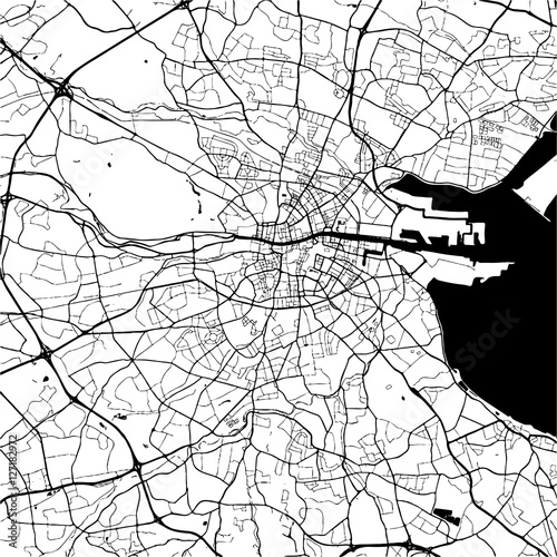 Photo Dublin, Ireland, Monochrome Map Artprint