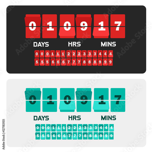 countdown clock digits board new year and christmas sale timer number counter template banner