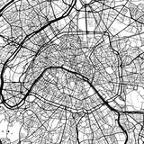 Paris, France, Monochrome Map Artprint - 127183986