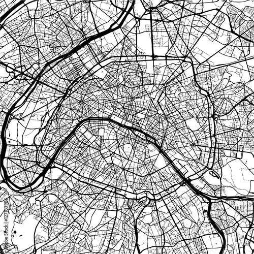 Paris, France, Monochrome Map Artprint Canvas Print