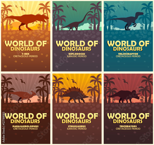 Posters collection World of dinosaurs. Prehistoric world. T-rex, Diplodocus, Velociraptor, Parasaurolophus, Stegosaurus, Triceratops. Cretaceous period. Jurassic period.