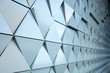 canvas print picture - Abstract close-up view of modern aluminum ventilated triangles on facade