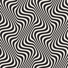 Wavy Lines Optical Illusion. Vector Seamless Black And White Pattern.