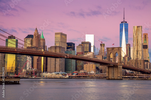 Sunrise colors of Brooklyn Bridge and  Manhattan, New York City,