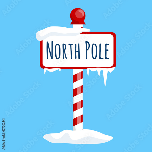 Canvas Print christmas icon north pole sign with snow and ice, winter holiday xmas symbol, ca