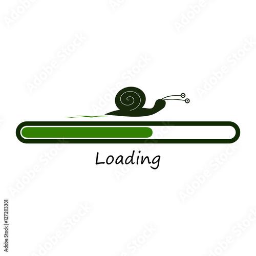 Slow green progress loading bar with snail funny concept vector slow green progress loading bar with snail funny concept vector illustration isolated on white voltagebd Choice Image